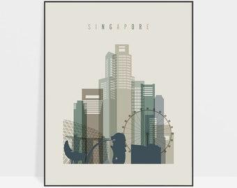 Singapore art poster, Singapore print, Singapore skyline art, Travel gift, Wall art, City poster, Typography art, Home Decor, ArtPrintsVicky