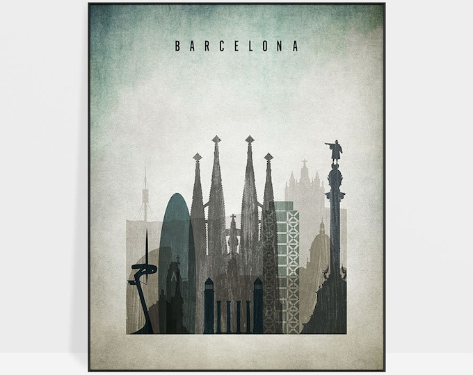 Barcelona wall art, Barcelona print, poster, Barcelona skyline, Barcelona art, travel poster, distressed, home decor, gift, ArtPrintsVicky