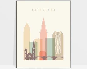 Cleveland print, Poster, Cleveland skyline, Wall art, City poster, Travel gift, ArtPrintsVicky