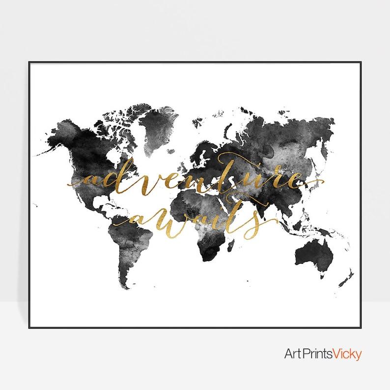 Carte du monde noir et blanc personnalis carte du monde - Carte du monde a imprimer gratuite ...