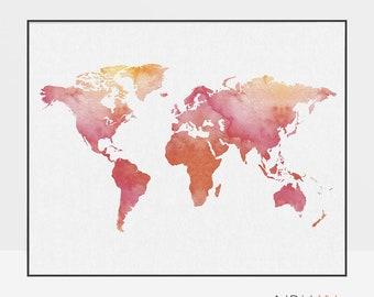 World map art, World map poster, Travel Map, Large world map, World map print, red prints, Travel gift, ArtPrintsVicky