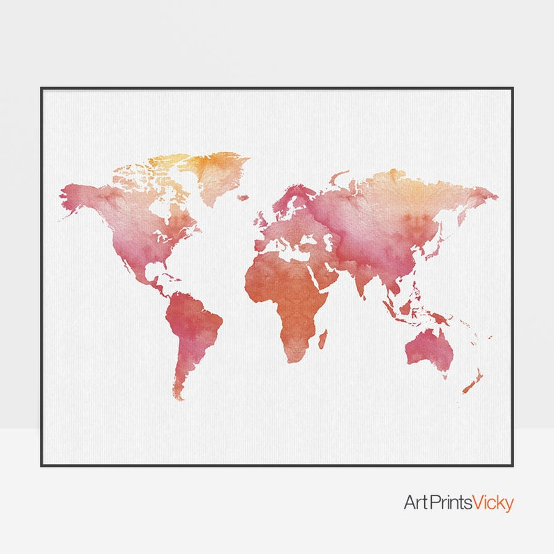 fb0e26198c65 World map art, World map poster, Travel Map, Large world map, World map  print, red prints, Travel gift, Home decor, ArtPrintsVicky