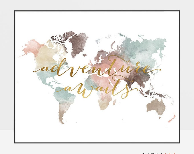 World map, World map poster, Adventure awaits, World map wall art, Large world map, Travel map, gift, faux gold, ArtPrintsVicky