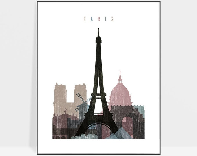 Paris print, Paris poster, Paris skyline, Wall art, City poster, Typography art, Gift, Home Decor, travel poster, ArtPrintsVicky