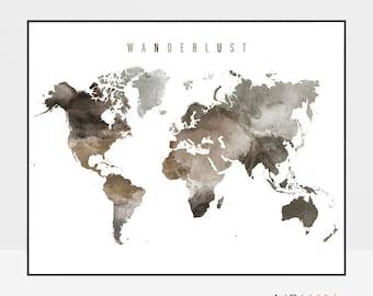 Travel art, World map art, world map poster, travel map, Large world map, World map print, Travel decor, Gift Decor, ArtPrintsVicky