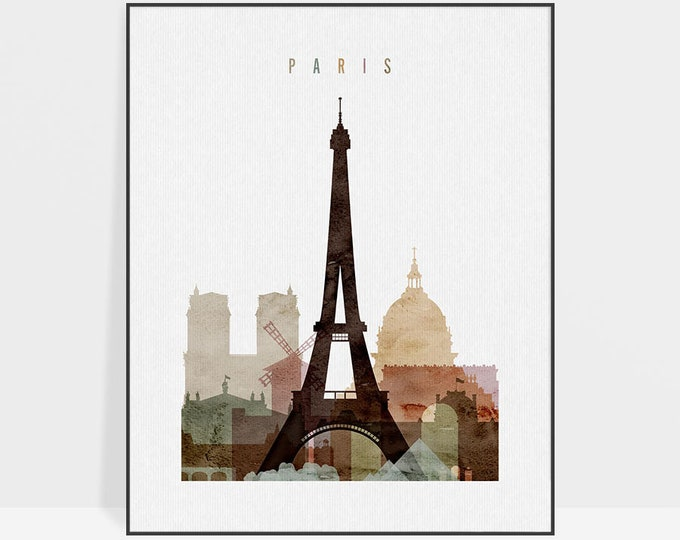 Paris watercolor print, Paris watercolor poster, Wall art, Paris skyline, housewarming gift, travel decor, city print,  ArtPrintsVicky.