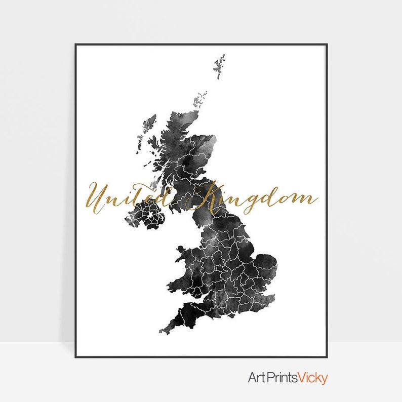 Carte Royaume Uni Noir Et Blanc.Carte Du Royaume Uni Noir Et Blanc Affiche Carte Imprimer Wall Art Affiche Carte Uk Cadeau De Voyage Bureau Artprintsvicky