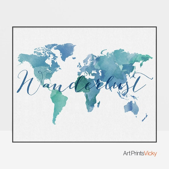 World map poster wanderlust map artmap decor large world | Etsy