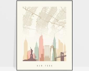 New York map, New York skyline art, New York poster, New York City print by ArtPrintsVicky