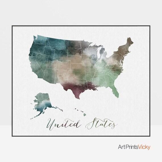 United States print, travel map, U.S. poster, United States map, USA map  watercolor, painting, watercolor print, home decor, ArtPrintsVicky.