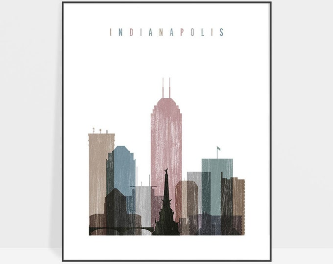 Indianapolis art print, Distressed Poster, Travel Wall art, Indiana cityscape, Indianapolis skyline, City poster, Wall decor, ArtPrintsVicky