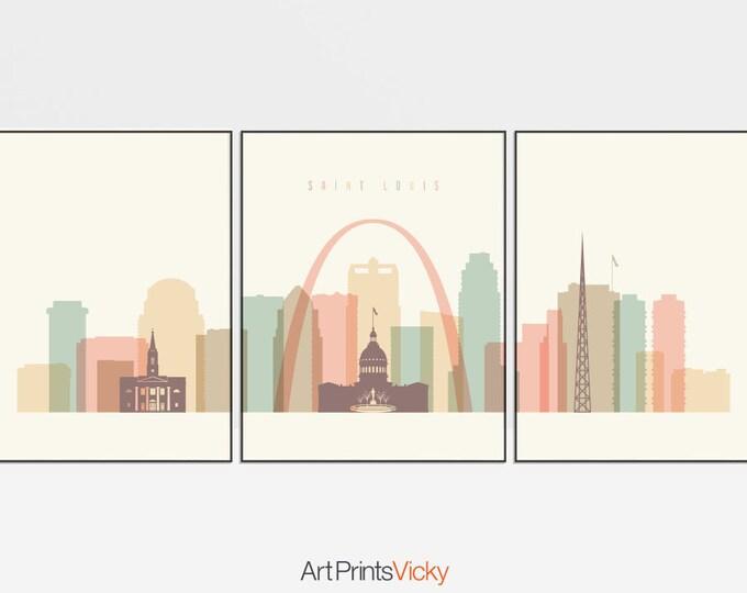 Saint Louis 3 piece wall art, Triptych of Saint Louis skyline, large wall art, travel, housewarming gift, home decor, ArtPrintsVicky