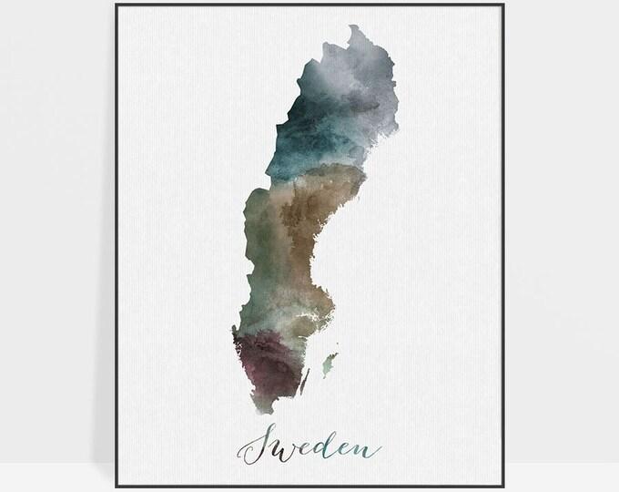 Sweden watercolor map, Sweden Wall art, Sweden Travel print, Sweden map poster, Sweden watercolor print, Fine art prints, ArtPrintsVicky.