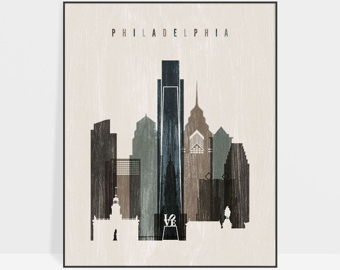 Philadelphia poster, Philadelphia skyline art, Wall art, Travel gift, Distressed skyline, City print, Home Decor, ArtPrintsVicky