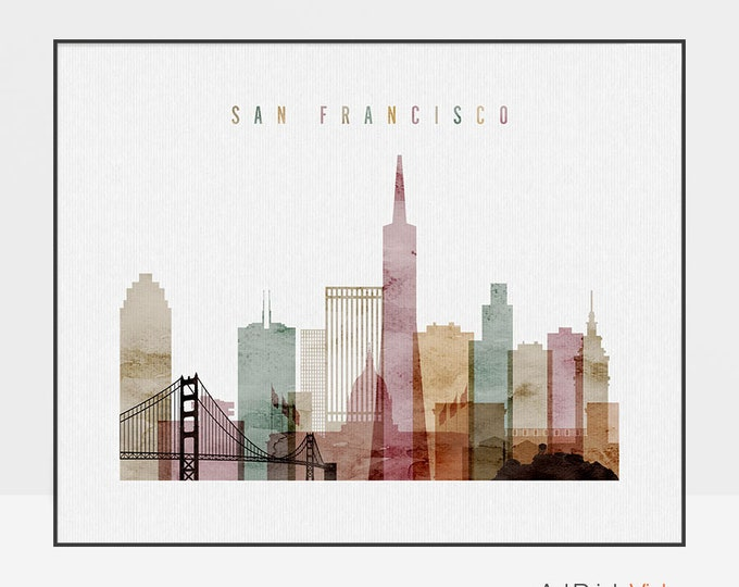 San Francisco poster, print, San Francisco skyline, watercolor print, wall art, California, home decor, travel gift, ArtPrintsVicky