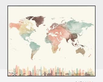 World map, world map poster, Travel map, skyline wall art, world map print, watercolor, large world map, travel gift, ArtPrintsVicky