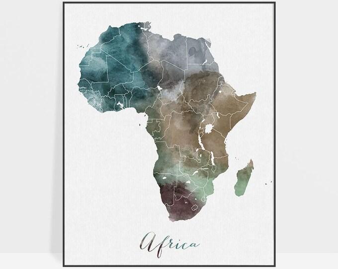 Africa watercolor map, art print, travel map, Africa poster, Africa map, wall art, home decor, ArtPrintsVicky.