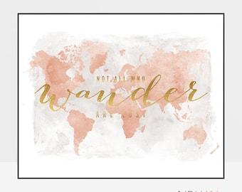 World map, World map wall art, World map print poster, not all who wander are lost, ArtPrintsVicky