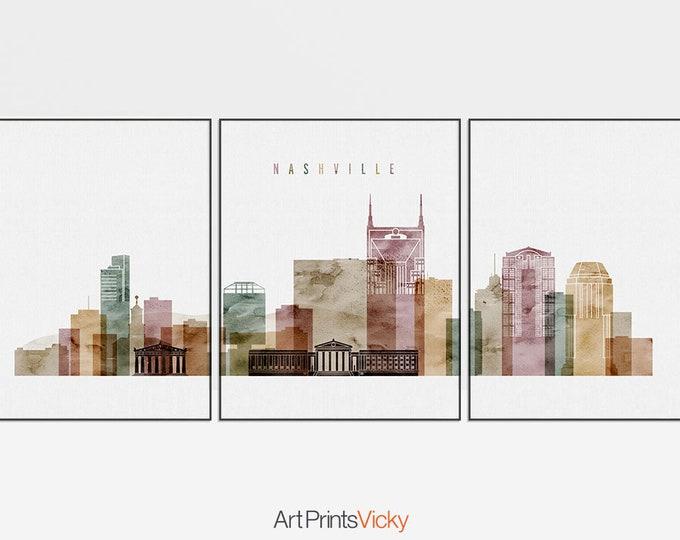 Nashville 3 piece wall art, print, Triptych of Nashville skyline, large wall art, Travel print, housewarming gift, home decor ArtPrintsVicky
