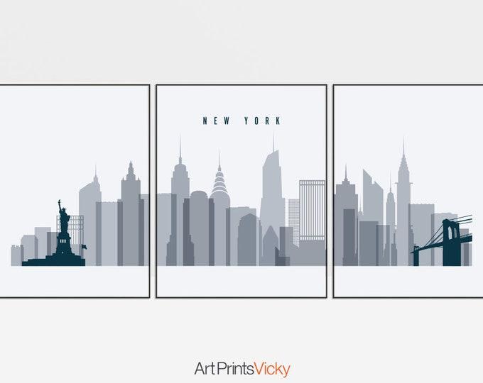 New York, poster, 3 piece wall art, set of 3 prints, triptych art, New York City skyline, art gift, city prints, home decor, ArtPrintsVicky