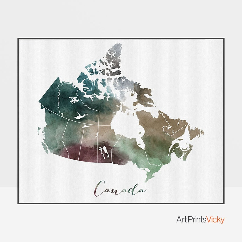 Buy Map Of Canada.Canada Map Canada Watercolor Map Wall Art Canada Map Poster Canada Watercolor Map Print Typography Art Fine Art Prints Artprintsvicky
