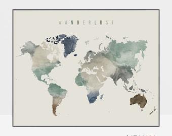 Wanderlust, World map art, watercolor map, world map poster, world map wall art, large world map, travel map, ArtPrintsVicky