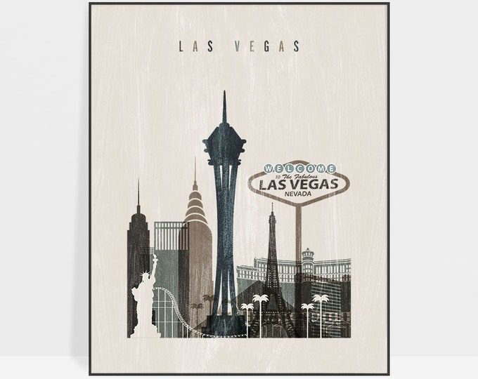 Las Vegas wall art, Las Vegas print, Las Vegas skyline,  Poster, Distressed art, Travel, Nevada, Gift, Home Decor, ArtPrintsVicky