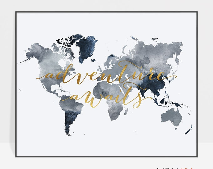 World map, world map poster, Adventure awaits world map, wall art, world map print, travel map, large world map, travel gift, ArtPrintsVicky