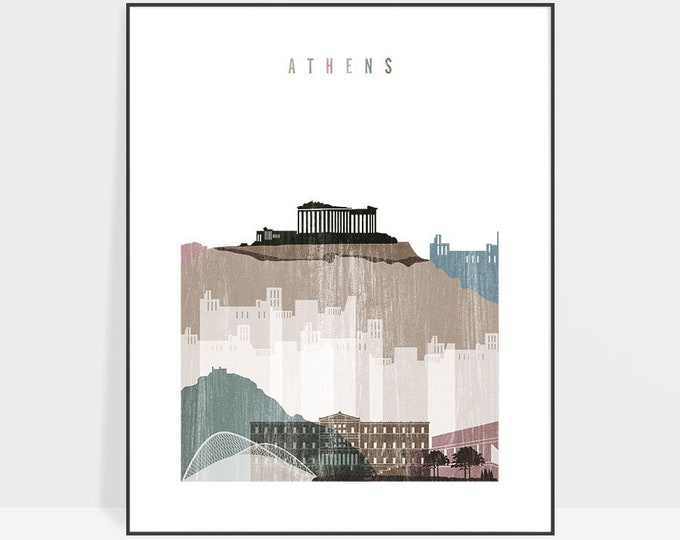 Athens poster, Athens Greece, Athens print, Athens wall art, Home decor, Athens skyline, Athens art, distressed, Gift, ArtPrintsVicky