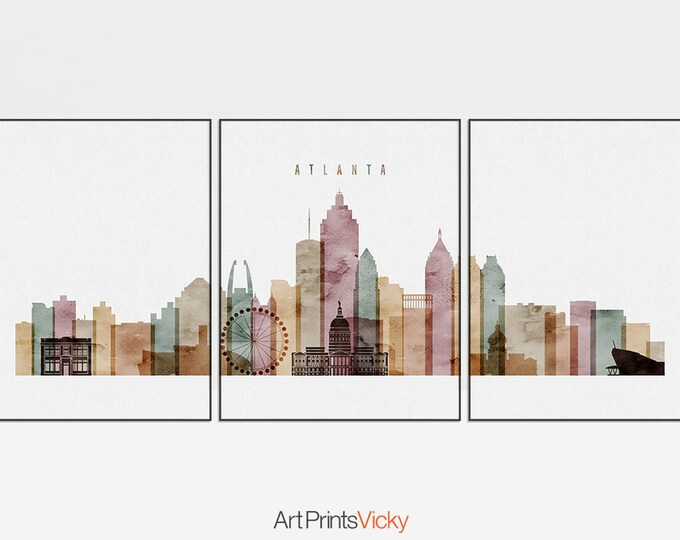 Atlanta triptych, Atlanta 3 piece wall art, Atlanta print set of 3 pieces, Large wall art watercolor, travel gift, home decor ArtPrintsVicky