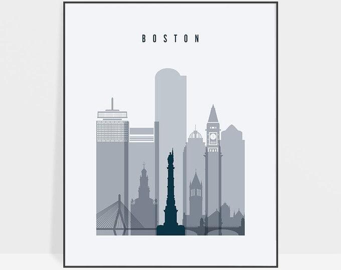 Boston skyline, Boston art, Boston print, poster, Massachusetts, wall art, City print, Travel Gift, Home Decor, Wall decor, ArtPrintsVicky