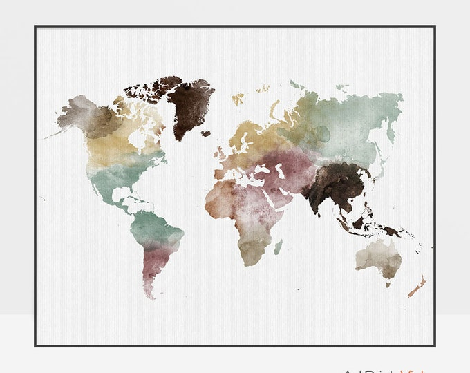 World map, world map poster, large world map, travel map, world map wall art, world map print, gift decor, ArtPrintsVicky