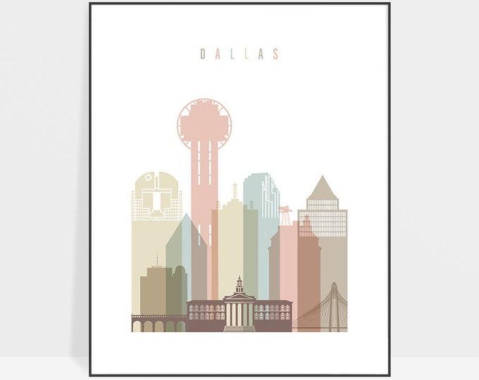Dallas poster, Dallas print, Dallas skyline, wall art, Dallas art, Texas, Travel poster, city print, home decor, gift, ArtPrintsVicky
