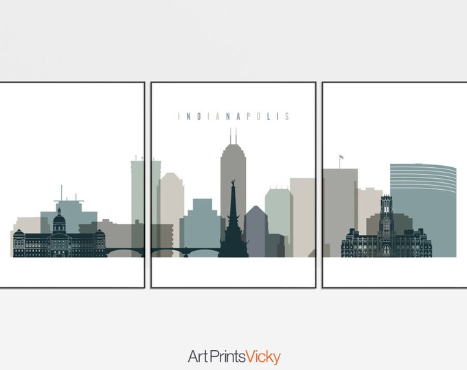 Indianapolis set of 3 prints, 3 pieces wall art of Indianapolis skyline, triptych wall art, travel gift, home decor, ArtPrintsVicky