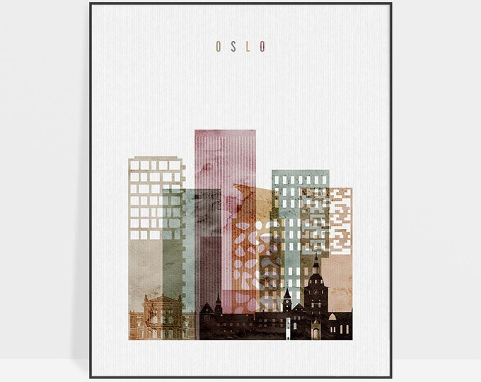 Oslo art print Poster, Oslo wall art, Norway cityscape, Oslo skyline, Travel poster, Gift, Home Decor, Fine art prints, ArtPrintsVicky