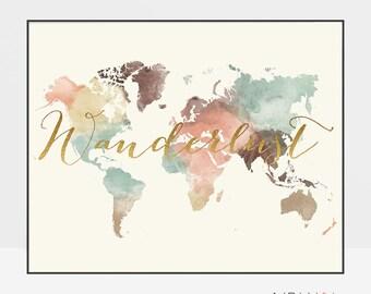 World map, World map poster, world map wall art, Wanderlust, World map print, Travel gift, ArtPrintsVicky