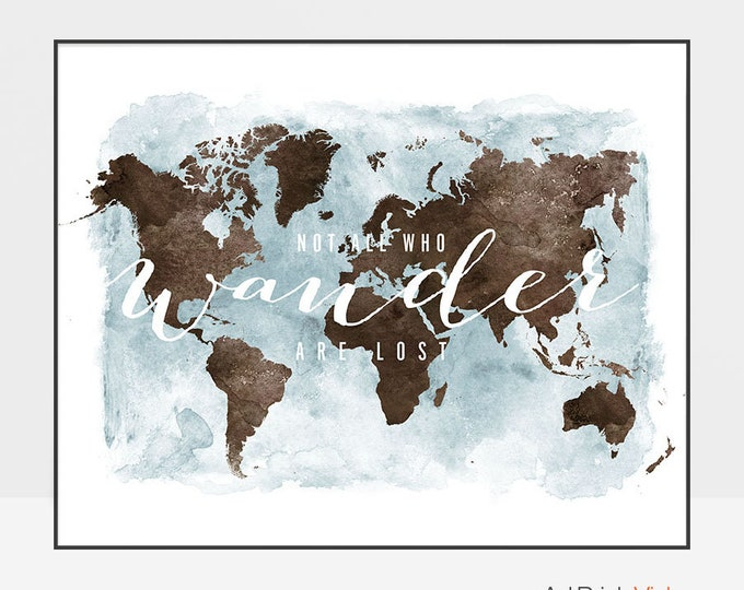 World map poster, large world map, World map wall art, World map art, travel gift, not all who wander are lost, Home Decor, ArtPrintsVicky.
