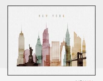 New York poster, New York skyline, New York City, wall art, New York print, New York art, city print, home decor, ArtPrintsVicky.