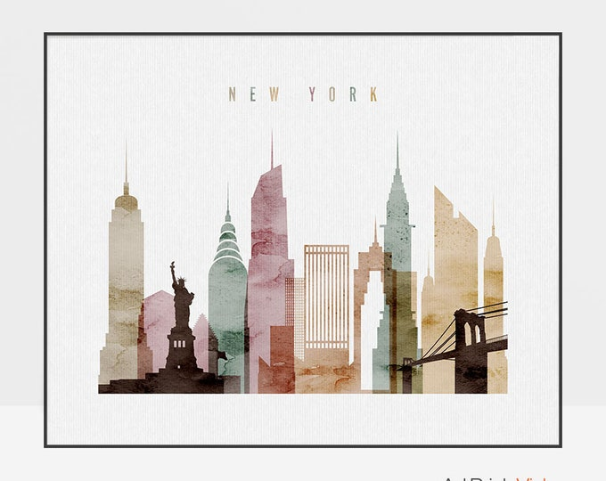 New York poster, New York skyline, New York City, wall art, New York print, New York art, city print, home decor, ArtPrintsVicky.