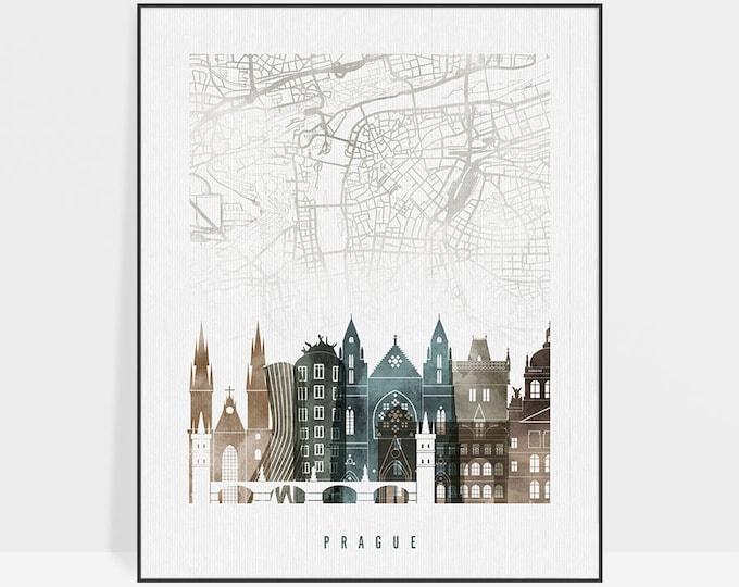 Prague map, Prague print, Prague poster, Prague art skyline, Czech Republic, Travel poster, Home decor, housewarming gift, ArtPrintsVicky