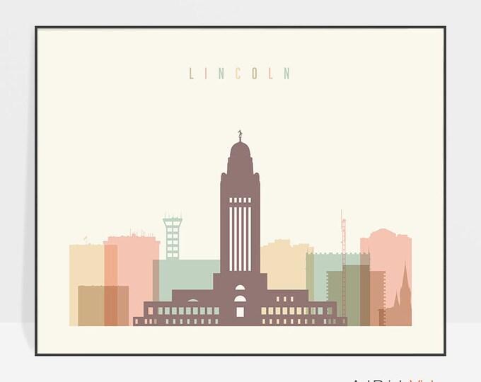 Lincoln art, Lincoln print, Lincoln decor, Lincoln skyline poster, Nebraska cityscape, Travel prints, Home decor, ArtPrintsVicky