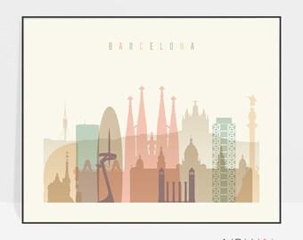 Barcelona art, Barcelona print, Barcelona art, Barcelona skyline, poster, Spain cityscape, Travel poster, Home Decor, ArtPrintsVicky