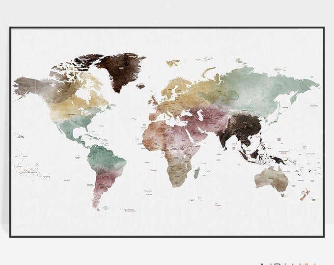 Large world map, world map wall art, world map art, world map poster, travel map, travel art, gift decor, ArtPrintsVicky