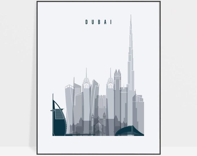 Dubai print, Poster, Wall art, United Arab Emirates Dubai skyline, City poster, Typography art, Home Decor Digital Print, ArtPrintsVicky.
