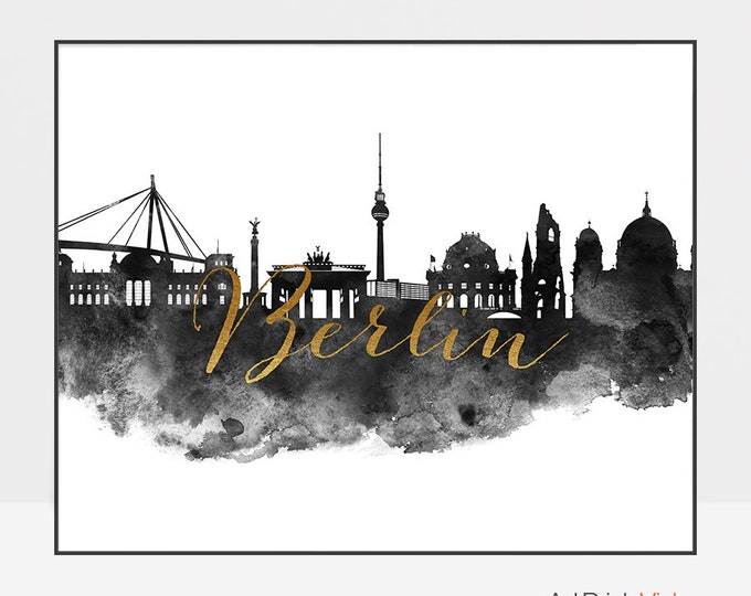 Berlin poster, art, print, Wall art, Berlin skyline, Germany, black and white print, watercolor art, faux gold,  city poster, ArtPrintsVicky