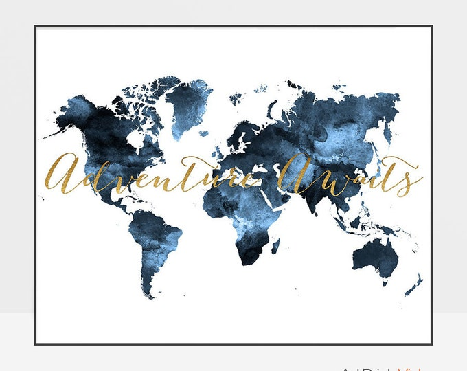 Adventure awaits, Large world map, Travel map, World map poster, World map art, faux gold, Travel decor, gift decor, ArtPrintsVicky