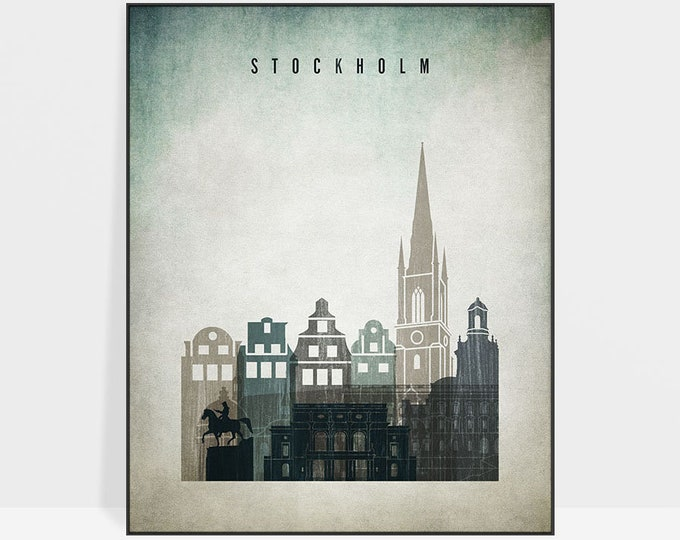 Stockholm wall art, Stockholm print, poster, Stockholm skyline, travel poster, distressed art, home decor, gift, ArtPrintsVicky