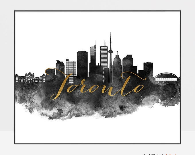 Toronto wall art skyline poster, black and white print, Toronto watercolor art, Toronto travel poster, faux gold, Gift, ArtPrintsVicky