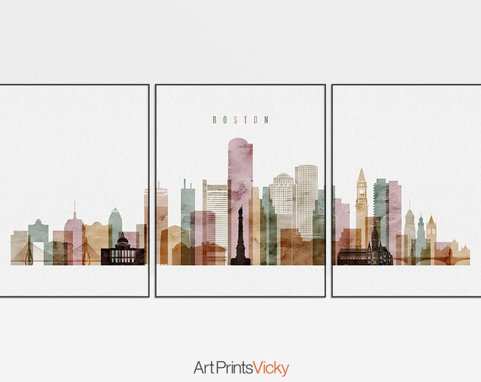 Boston set of 3 prints, Boston 3 pieces wall art, triptych of Boston skyline watercolor, travel gift, home decor, ArtPrintsVicky