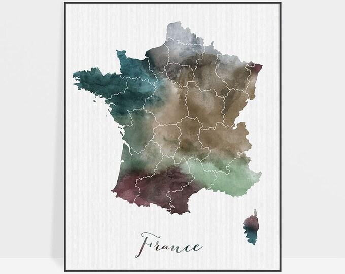 France watercolor map, France Wall art, France map poster, France watercolor print, France map poster, Fine art prints, ArtPrintsVicky